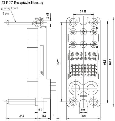 DL52Z/T &DL52Z-01 series Connectors Product Outline Dimensions
