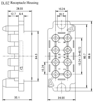 DL series Power Modular Connector series Connectors Product Outline Dimensions