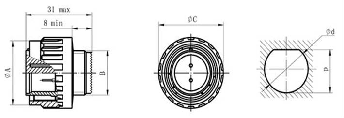 MIL-DTL-38999 series III circular electrical connector with compound material series Connectors Product Outline Dimensions