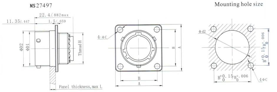 MIL-DTL-38999 SERIES II CIRCULAR ELECTRICAL CONNECTOR series Connectors Product Outline Dimensions