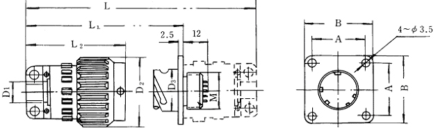 Y2 series Connectors Product Outline Dimensions