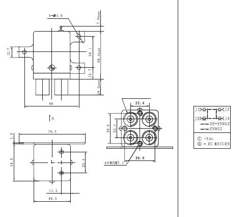 JPT193F RF Coaxial Relay  series Relays Product Outline Dimensions