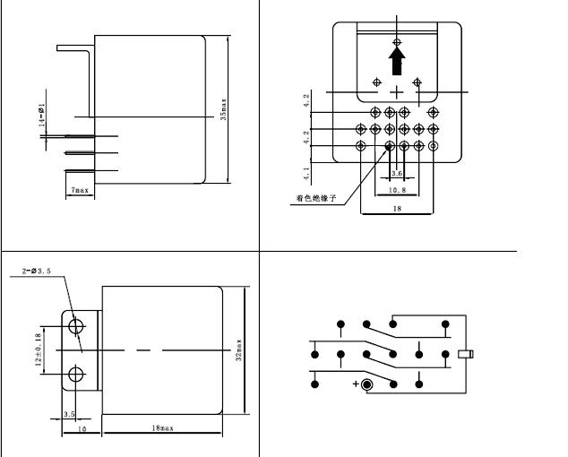 GK-8 hermetical and overload switch  series Relays Product Outline Dimensions