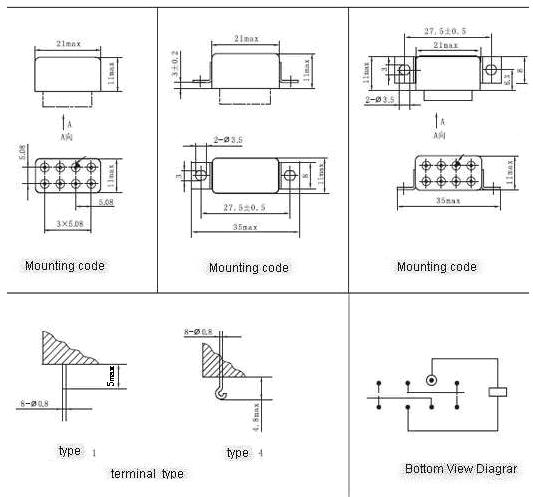 KJMC-023M Subminiature and Hermetical Power Relay   series Relays Product Outline Dimensions