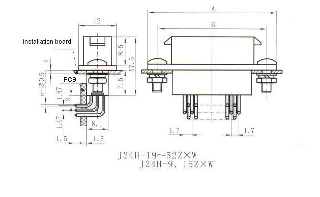 J24H right angle contact for PCB receptacle Connectors Product Outline Dimensions