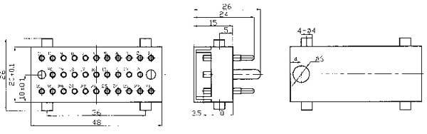 JF6 Separation Electrical Connector series Connectors Product Outline Dimensions