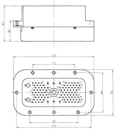 JQ6 Rectangular Electrical Connector series Connectors Product Outline Dimensions