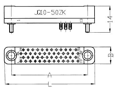 JQ10 Miniature Rectangular Electrical Connector series Connectors Product Outline Dimensions