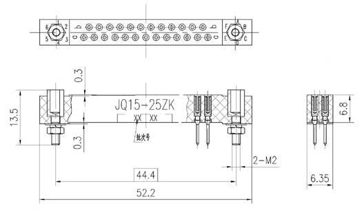 JQ15 Rectangular Electrical Connector series Connectors Product Outline Dimensions
