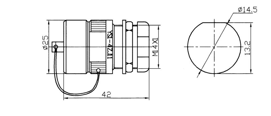 YS1 series underwater circular  series Connectors Product Outline Dimensions