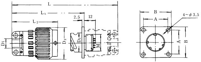 Y2 series sealed electrical connector series Connectors Product Outline Dimensions