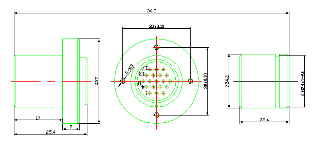 YQ16 series bayonet circular series Connectors Product Outline Dimensions