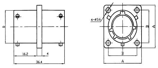 YQ26 series sealed electrical connector series Connectors Product Outline Dimensions