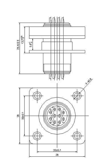 YQ23 series bayonet circular series Connectors Product Outline Dimensions