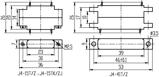 Series J4,Rectangular, Electrical Connector series Connectors Product Outline Dimensions