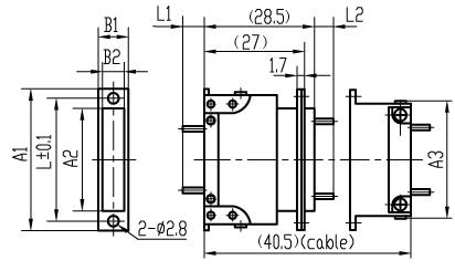 J14F Rectangular Electrical Connector series Connectors Product Outline Dimensions