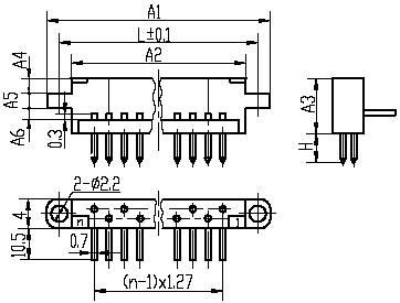 Series J19,Rectangular,Tee Joint, Electrical Connector series Connectors Product Outline Dimensions