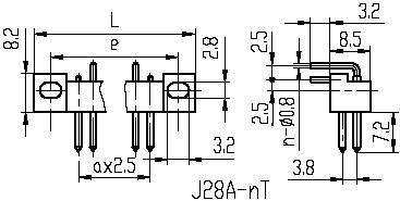 J28,J28A,J28C,J28D,Rectangular, Electrical Connector series Connectors Product Outline Dimensions
