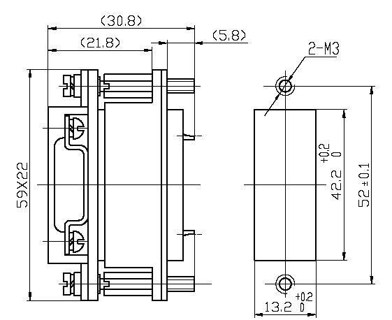 J36C Rectangular Electrical Connector series Connectors Product Outline Dimensions