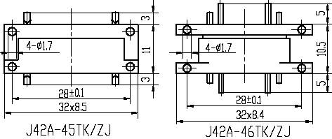 Series J42A,Rectangular, Electrical Connector series Connectors Product Outline Dimensions