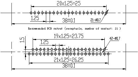 Series J42B, Rectangular, Electrical Connector series Connectors Product Outline Dimensions