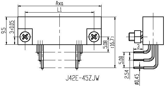 Series J42E,Rectangular, Electrical Connector series Connectors Product Outline Dimensions
