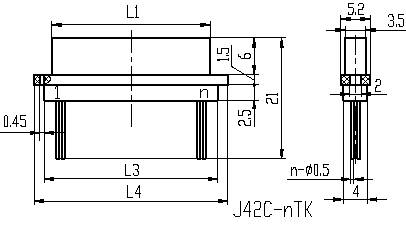Series J42C,Micro-Rectangular, Electrical Connector series Connectors Product Outline Dimensions