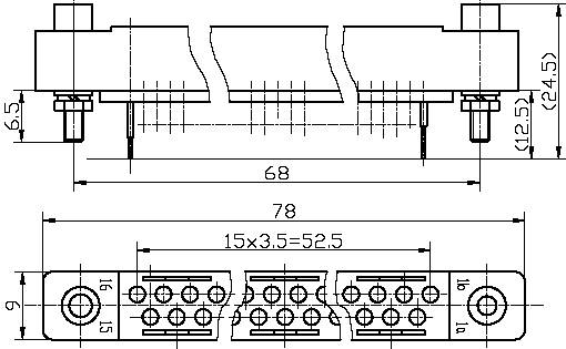 Series J52 Rectangle PCB Connector series Connectors Product Outline Dimensions