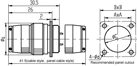 Series Y8B,Y8C,Circular,Electrical Connector series Connectors Product Outline Dimensions