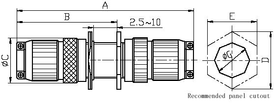 Series Y40,Circular,Electrical Connector series Connectors Product Outline Dimensions